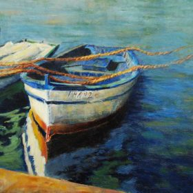 Trois petites embarcations / Three small boats - 14 X 18